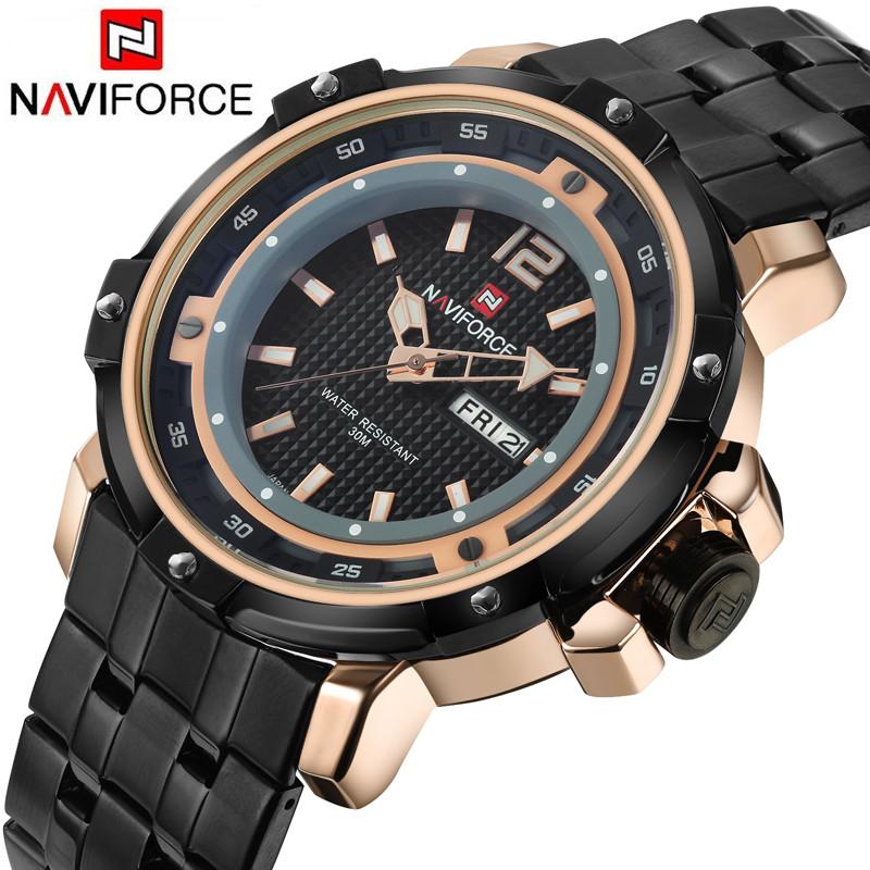 NAVIFORCE Luxury Brand Military Watches Men Quartz Analog 3D Face Full Steel Clock Man Sports Watch Army Watch Relogio masculino(China (Mainland))