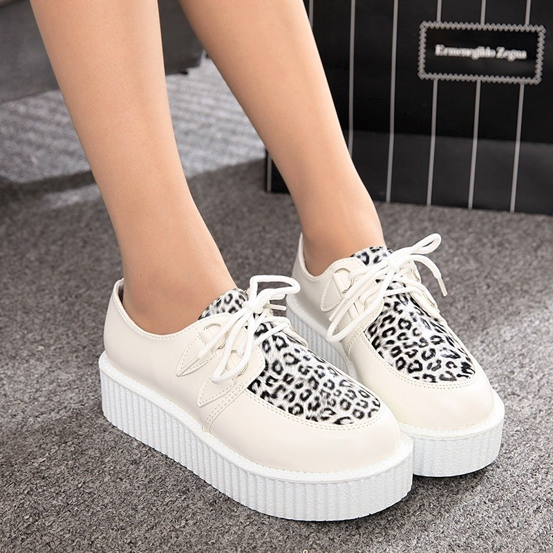 Creepers Platform Shoes Women Flats Shoes Lace Up Creepers Suede Black Ladies Shoes Casual