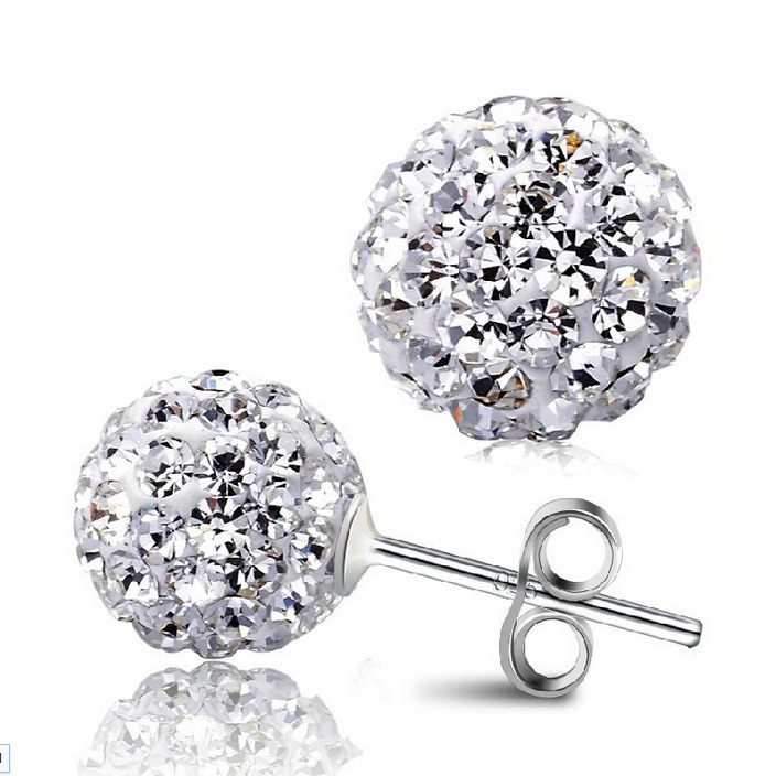 (Min $10 mix orders) Wholesale Jewelry 925 Sterling Silver Full Crystal Ball Shape Ear Stud Earrings Ear Ring Pendant ED03-6mm(China (Mainland))