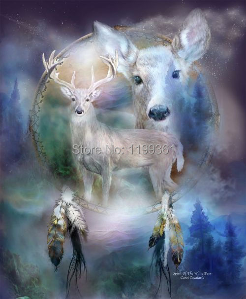 MY Printed Oil Painting Modern Wall Art Home Decoration Canvas Prints Picture No Frame Abstract Spirit of the White Deer(China (Mainland))