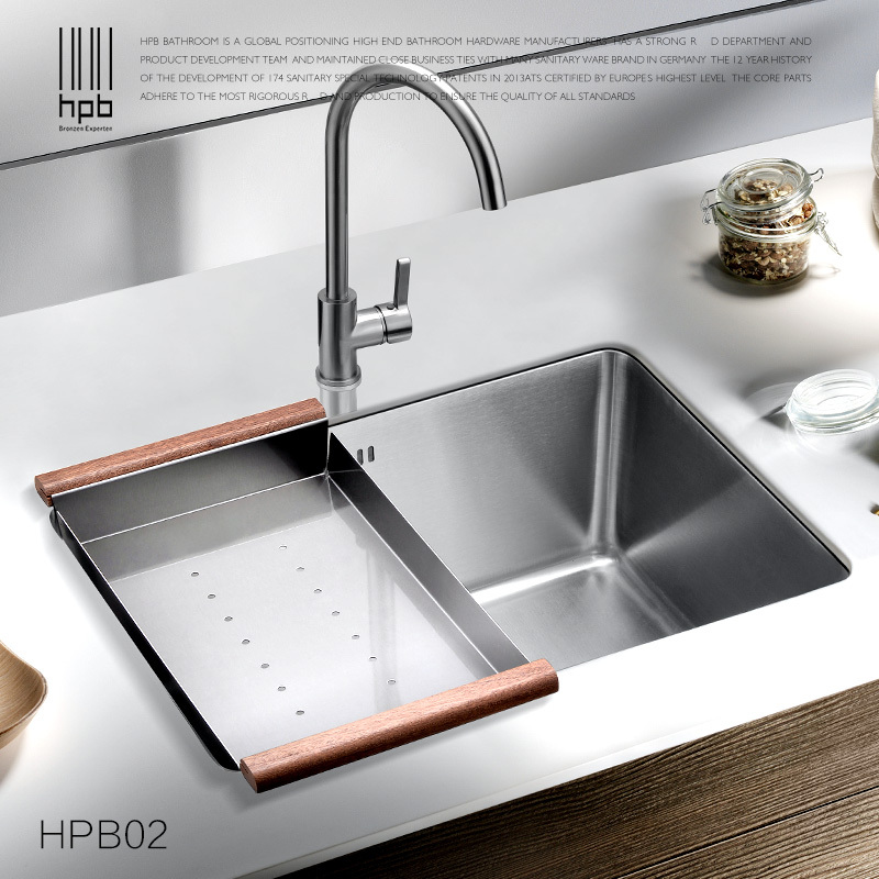 HPB 304 Stainless Steel Single Bowel Thicken One Piece Pots Vegetables Kitchen Sink HPB02<br>