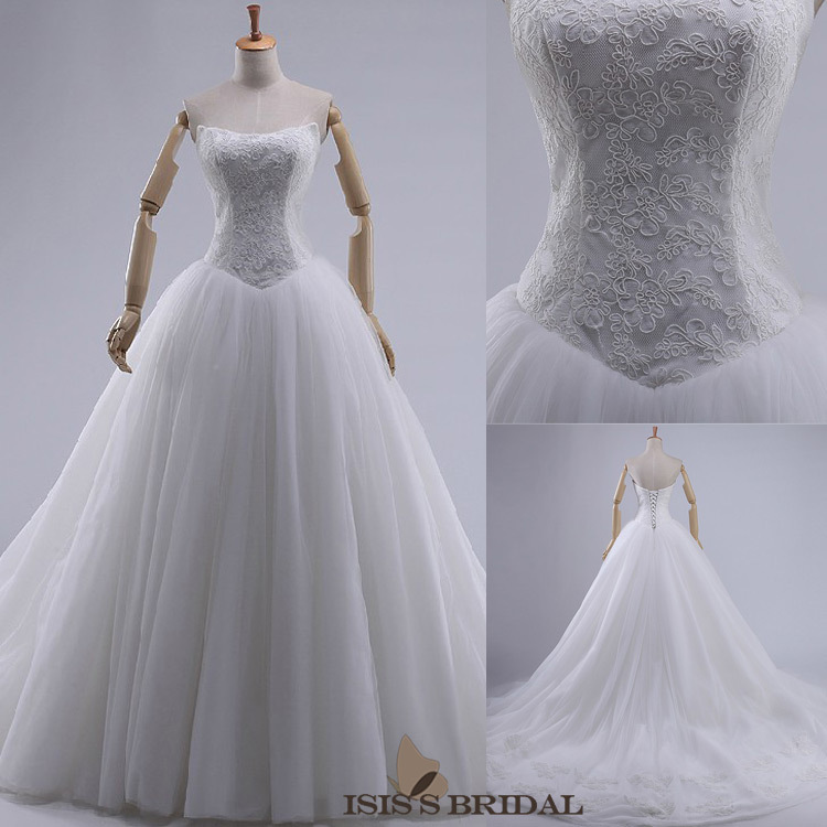 High quality New Wedding dress 2014 Real Sample Hot sale Fashion strapless Tulle lace Ball Gown Wedding dresses Bridal Dress(China (Mainland))