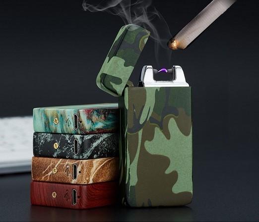ถูก 1ชิ้นUSBแบบชาร์จลมArcเบาชีพจรส่วนบุคคลโลหะบุหรี่อิเล็กทรอนิกส์Briquetด้วยกล่องของขวัญ5สี