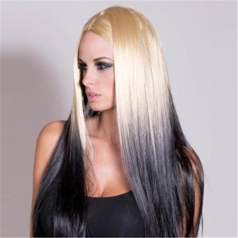 Прически на белые волосы и черные кончики