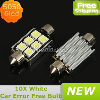 10XError Free CANBUS Festoon 6LED 5050 SMD Interior Bulb Dome Light 39mm White,Wholesale Car Error Free LED Lights FREE SHIPPING