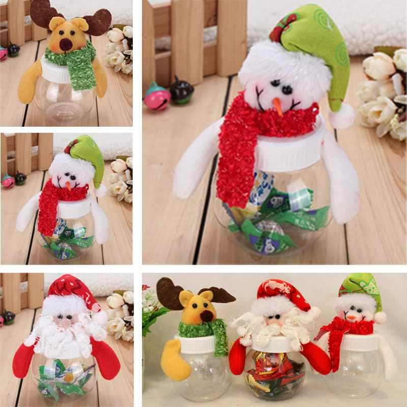 Santa Claus Christmas Candy Bags Storage Bottle Xmas Decoration Cute Child Gift Case(China (Mainland))