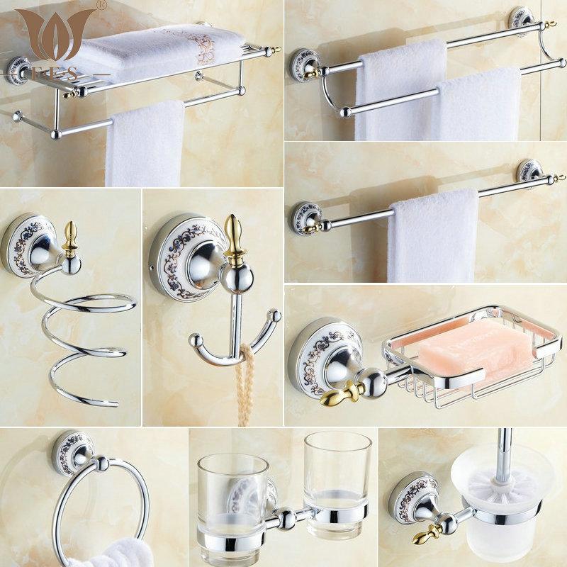81CP Series Chrome Polished Porcelain Bathroom accessories Bath Hardware Set Towel Shelf Towel Bar Paper Holder Cloth Hook(China (Mainland))