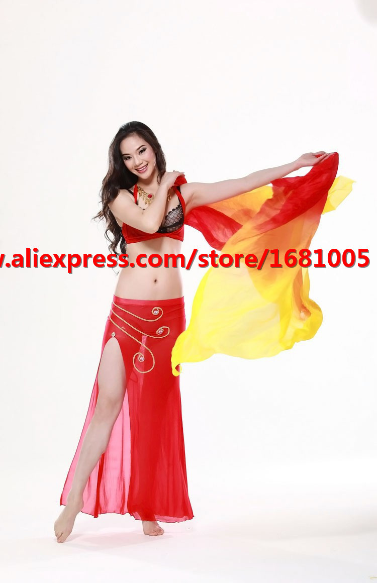 2016 high quality cheap dance veils women's sexy 100% silk belly dance veil wholesale red + orange + yellow(China (Mainland))