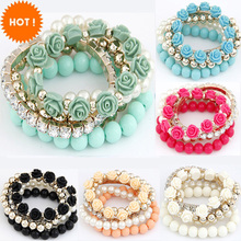 2015 Bohemian Fashion Candy Color Pearl Rose Flower Multilayer Beads Stretch Charm Bracelet & Bangle For Women pulseras mujer