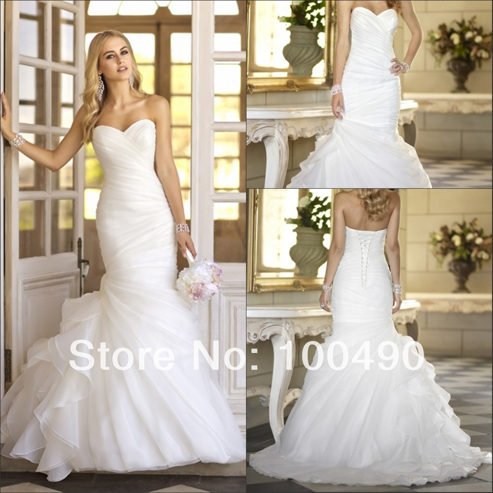 Fantasy Diagonal Pleat Sweetheart Neckline Organza Side Ruffles Bridal Dresses Wedding Gown