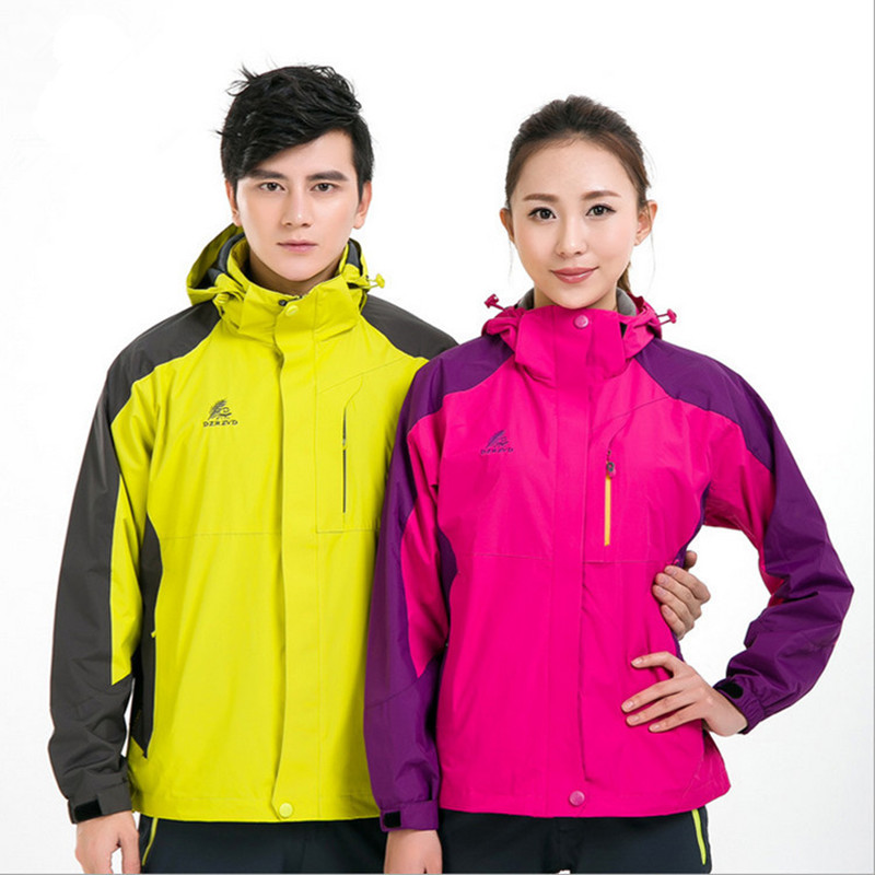 outdoor waterproof jackets for women & men lovers windproof camping and hiking clothing camping female jacket plus size 8 colors(China (Mainland))