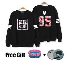 Kpop bts hoodies for men women bangtan boys album floral letter printed fans supportive o neck sweatshirt plus size tracksuits(China (Mainland))