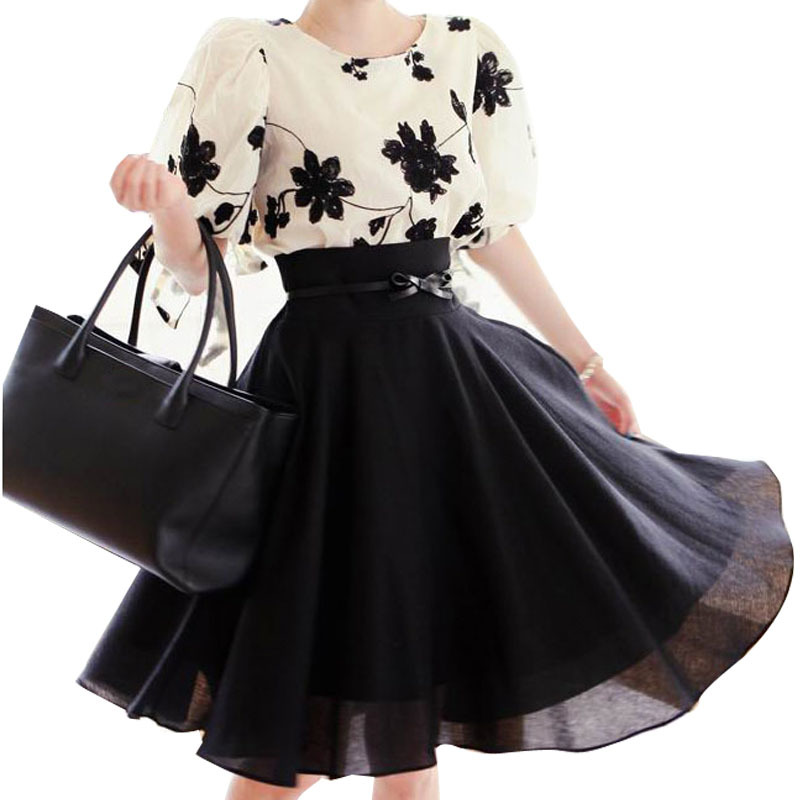 Womens Summer Clothing Black White Floral Embroidered Half Sleeve Chiffon Blouse Shirt 2 Piece Set Women Skirt & Top - Lynne's Wardrobe(Shaoxing Ruoke Textile Co.,Ltd store)