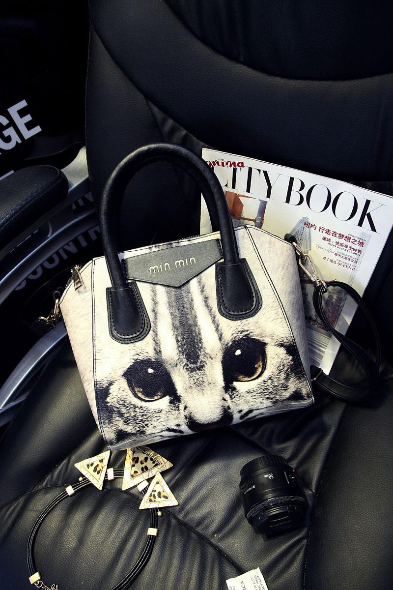 Fashion print 2014 cat women's handbag smiley bag star style handbag messenger bag cat picture package tote bag shopping bag(China (Mainland))