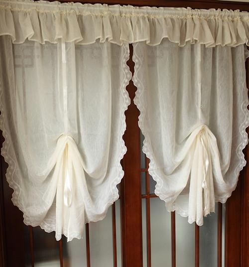 Beautiful Embroidery Curtains Folds Yarn Fabrics Balloon