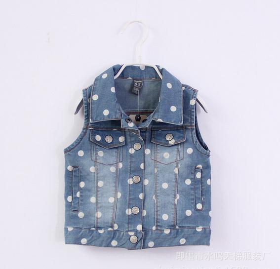 New baby girl denim vest dot lapel denim vest kids girls vest children denim vests 5pcs/lot<br><br>Aliexpress