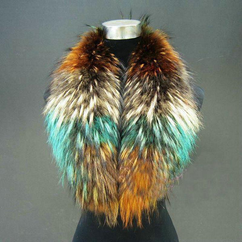 winter fur scarves Colorful real raccoon fur collars(China (Mainland))