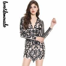 Buy Love&Lemonade Geometric V-Neck Sequins Bodycon Dress Black TB 9958 for $37.99 in AliExpress store