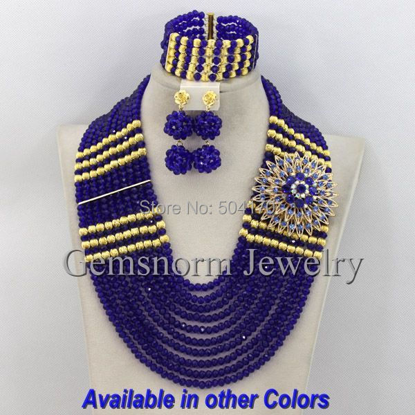 African Costume Jewelry Sets Wedding Royal Blue Crystal Beads 18k Indian Bridal GS372 - Beijing Gemsnorm Co., Ltd. store