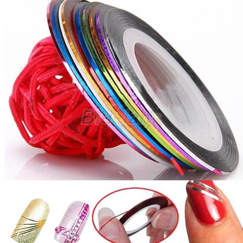 10 Color /bag 20m Rolls Nail Art UV Gel Tips Striping Tape Line Sticker DIY Decoration<br><br>Aliexpress