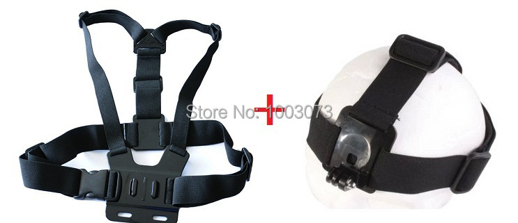 Гаджет  Go pro Harness Adjustable Elastic Chest Gopro Belt + Head Stap Mount Strap with Plastic Buckle for Gopro Hero 2 3 Black Edition None Бытовая электроника