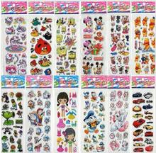 Mixed Cute Kids Stickers Puffy Decoration Children Stickers DIY Toy 3D Sticker Cartoon Child 100 Sheets/Set 7x17cm(China (Mainland))