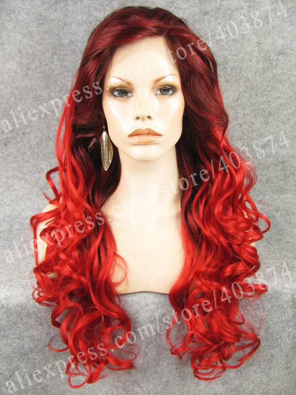 33/3100#  Sexy Red color Synthetic Lace Front Hair Wigs Party Queens<br><br>Aliexpress