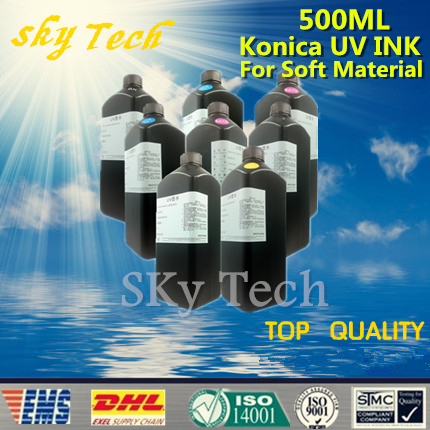 500ML*8   LED UV INK , For to print on Soft Material , UV ink  FOR Konica print head UV printer ,BK C M Y LC LM LBK LLBK<br>