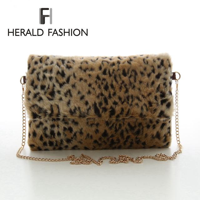 Вестник мода зимние пушистые женщины сумку искусственный мех сумка ремешок цепочка леопард сумки день клатч Feminina браслет