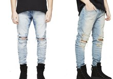 REPRESENT pants korean mens designer clothes fashion denim jumpsuit black/light blue skinny destroyed ripped distressed jeans