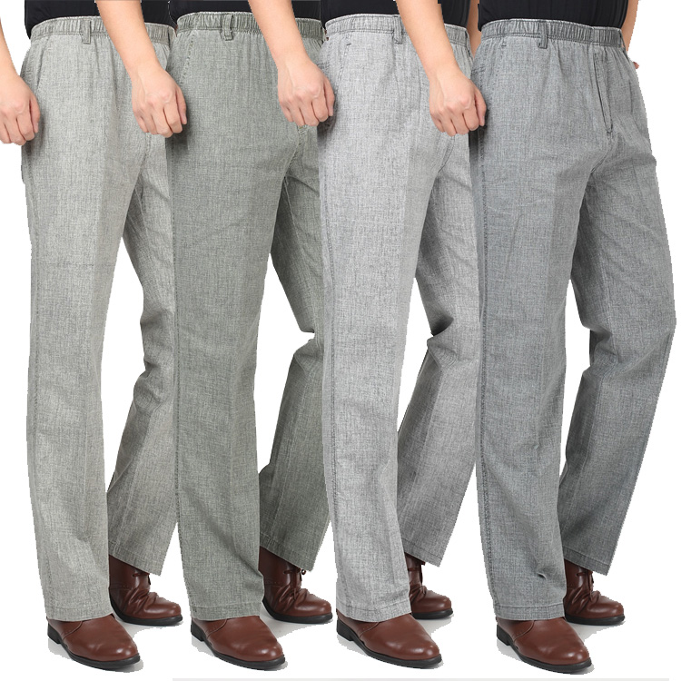 Summer Thin Father Casual Pants Trousers Plus Size High Waist Straight Pants Male Elastic Waist Linen Trouser Men Loose Pant 5XL(China (Mainland))