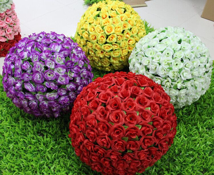 30 cm 12 inch Pink Red White Purple Yellow Color Artificial Fabric Roses Flower Ball for Party Wedding Decoration free shipping(China (Mainland))