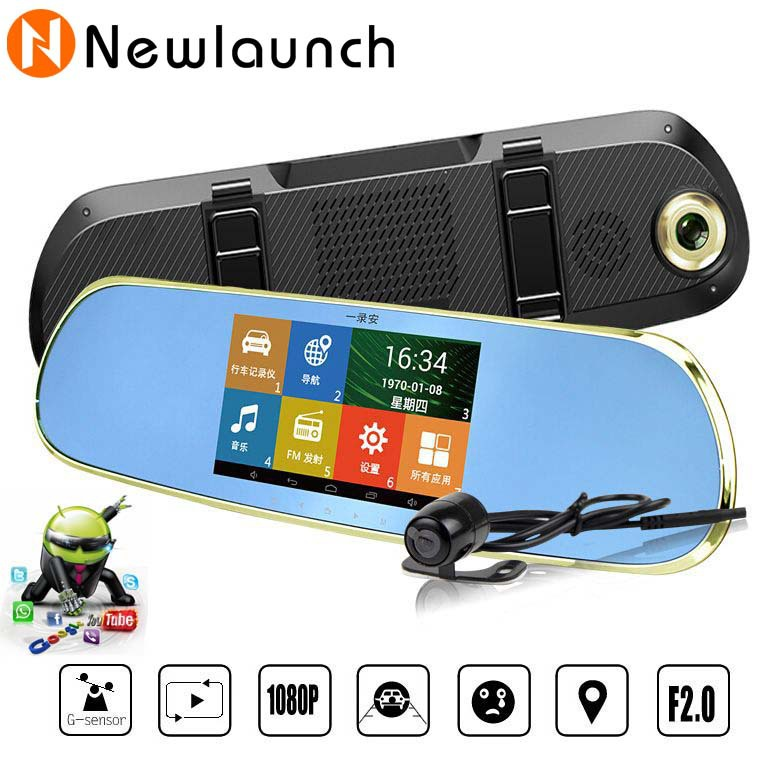 Android 4.4 rearview mirror Car DVR dual camera rear view video recorder 5'' LCD 720P Full HD lens carcam support WIFI GPS(China (Mainland))