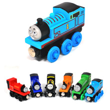 1 x Kids Wooden Toy Anime Puppet Kawaii Magnetic Thomas And Friends Wood Model Puzzle Train 18 Styles Length 8cm(China (Mainland))