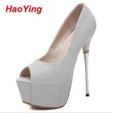 wedding shoes sapato feminino salto alto ladies heels shoes pumps sexy peep toe high heels 16cm summer shoes silver heels D455