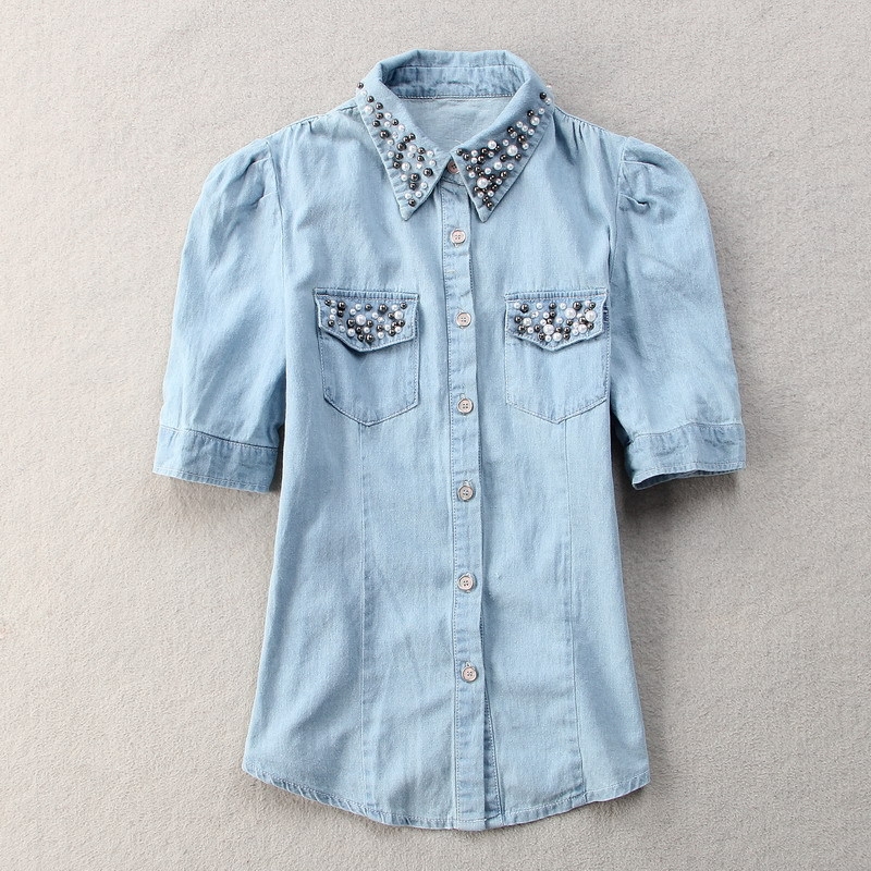 Nail Bead Mosaic Sweet Denim Shirt 2015 Autumn Shirt New