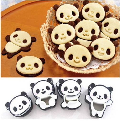 Cartoon Panda Cookie Cutters and Stamps Set (4pcs/set)