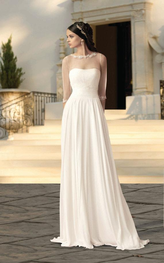 New arrival 2016 cheap beach wedding dress 3 4 sleeve for 3 4 sleeve wedding guest dress
