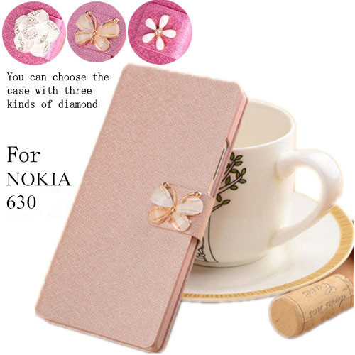 New arrival 5 color Cover For Nokia Lumia 630 635 Dual SIM phone caes,flip PU leather cover luxury case with diamond(China (Mainland))