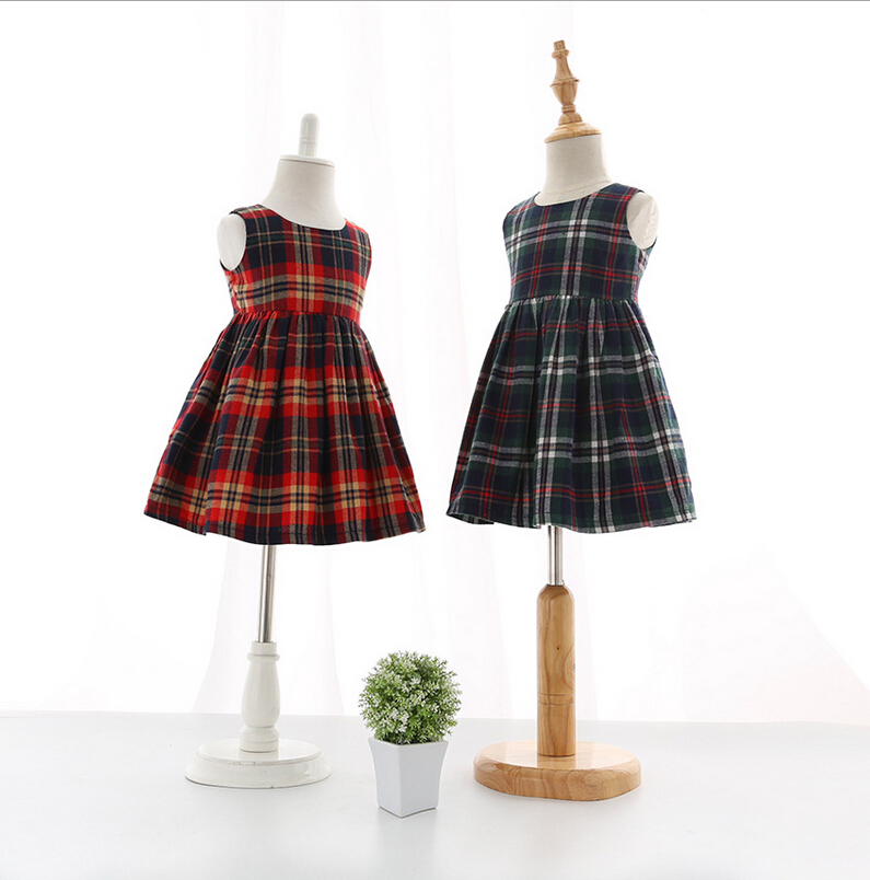 Baby Girl Plaid Vest Worsted Dresses, Princess Kids Fall Cute Dress Wholesale 5 pcs/lot,(China (Mainland))