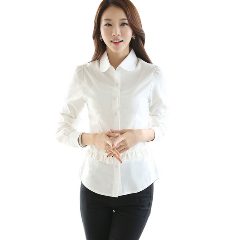2016 spring new ladies office shirts long sleeve ol white for Thick white shirt womens