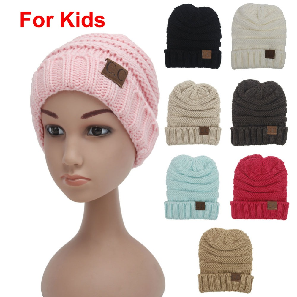 2pcs/lot Children solid 8 colors Skullies Crochet Beanies with Letter CC tag Kids hats Winter keep warm head cap Boys&girl N726(China (Mainland))