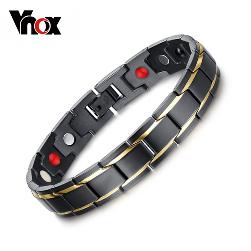 8.5inch Top Quality Health Men Bracelet Bangle 316L Stainless Steel Magnetic Care Jewelry Black & Gold Plated(China (Mainland))