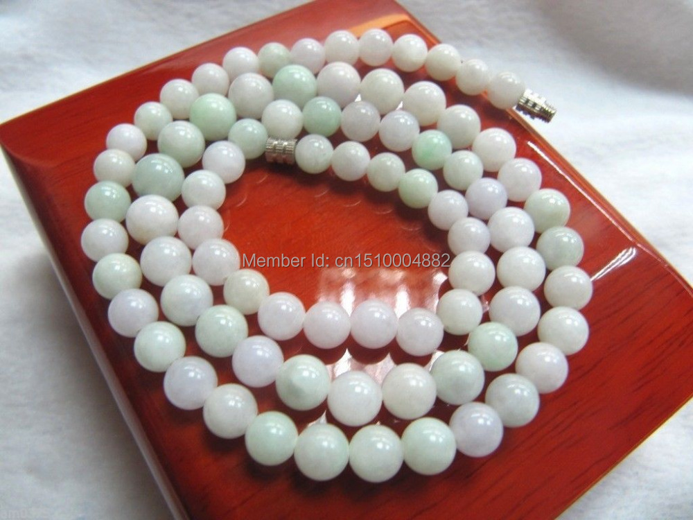 shitou 00602 Yuxi Jewelry Natural Chinese Jade/Jadeite White Colours Smooth Beads Necklace<br><br>Aliexpress