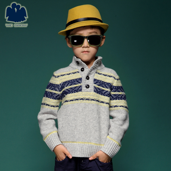 Free Shiping!!New Style,Single Breasted Pullover,Mandarin Collar Print Sweater,Winter Boys Knitwear,Casual Kids Clothing,4C0661(China (Mainland))