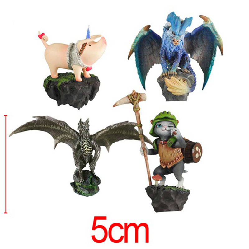 4pcs/set Game Monster Hunter Cashapon PVC Action Figure Collectible Model Toys Brinquedos Christmas Gifts Children Kids Gifts(China (Mainland))
