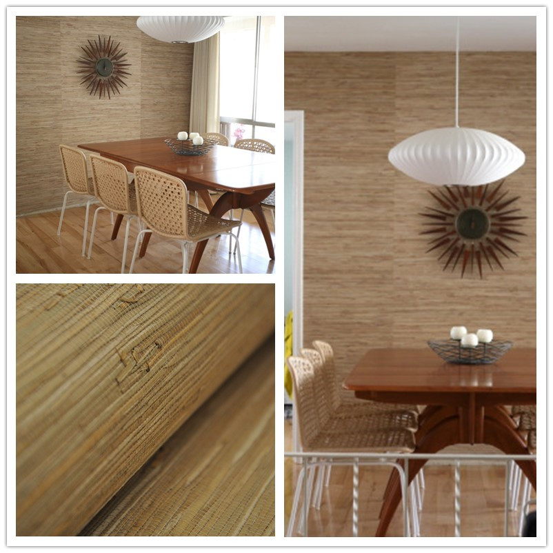 real grass natural color textures wallpaper for dining room decoration(China (Mainland))
