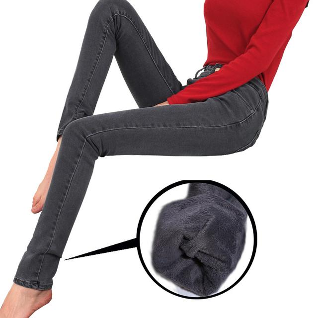 Новые женщин 2015 зимой толстые норки бархат джинсы 32 Большой размер stretck демин ...