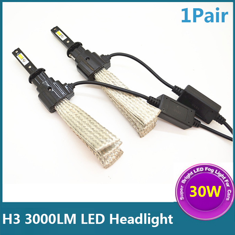 2 Pcs H3 30W 3000LM LED Lights White Super Power Car Conversion Headlight Fog Driving Lamps<br><br>Aliexpress