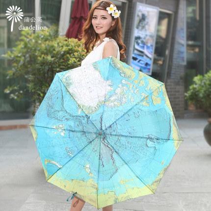 2016 English World Map umbrella originality Artistic flower cute UV protection Personality Automatic Sun umbrella(China (Mainland))